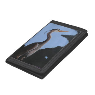 Heron in the Blue Tri-fold Wallet
