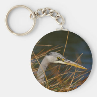 Heron in the grass key chain