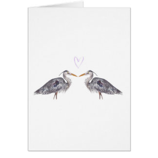 Heron love heart watercolour card