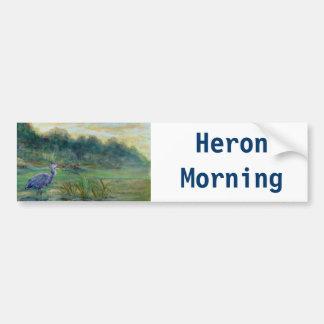 Heron Morning, acrylic Car Bumper Sticker