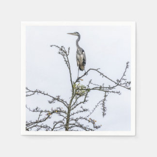 Heron on a tree disposable serviettes