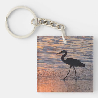 Heron on early morning walk Double-Sided square acrylic key ring