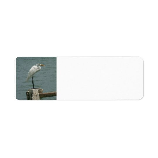 Heron on Piling Return Address Label