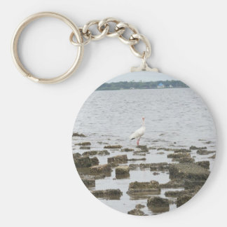 Heron on Shore Basic Round Button Key Ring