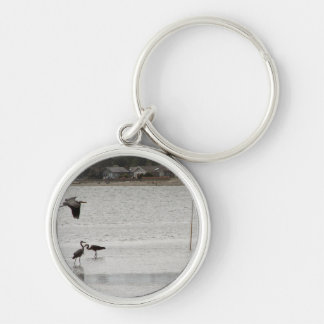 Heron Party Silver-Colored Round Key Ring