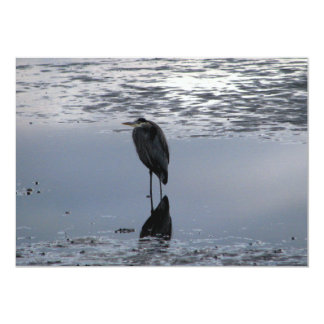 Heron Reflected 13 Cm X 18 Cm Invitation Card