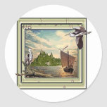 heron round sticker