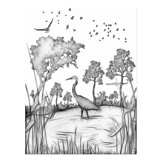 Heron Scene black and white sketch fractalius Postcard