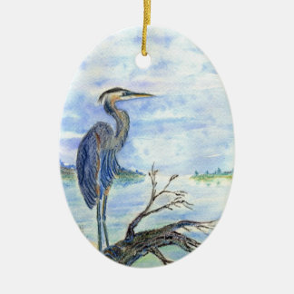 Heron Sentry - Watercolor Pencil Ceramic Oval Decoration
