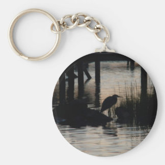 Heron Silhouetted on water at sunset Keychain