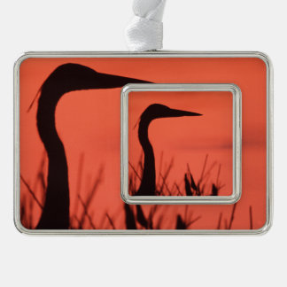 heron silver plated framed ornament