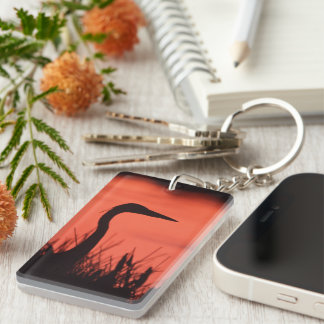 heron Single-Sided rectangular acrylic key ring