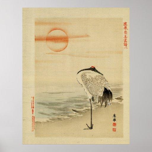 Heron sleeping poster