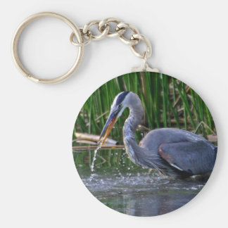 Heron Splash Basic Round Button Key Ring