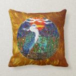 Heron tropical geometric metallic collage II Pillows