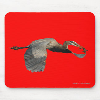 heron with fish mousepad