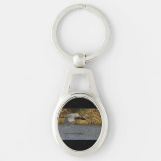 Heron with Fish Silver-Colored Oval Key Ring