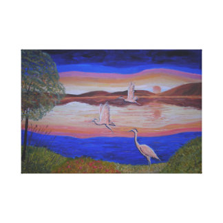 Herons At Sunset, abstract painting Gallery Wrapped Canvas