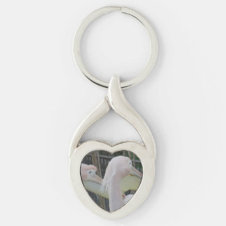 Herons Heart Keychain Silver-Colored Twisted Heart Key Ring
