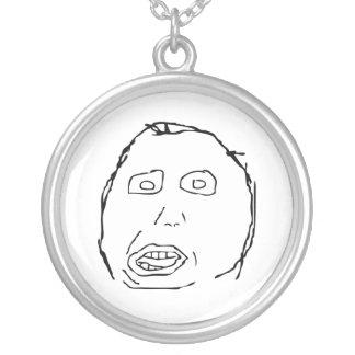 Herp Derp Idiot Rage Face Meme Round Pendant Necklace