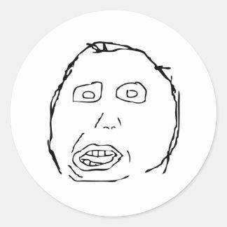 Herp Derp Idiot Rage Face Meme Round Sticker