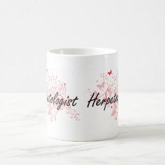 Herpetologist Artistic Job Design with Butterflies Basic White Mug