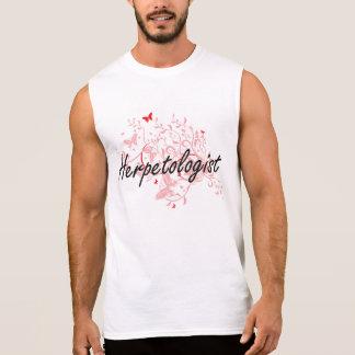 Herpetologist Artistic Job Design with Butterflies Sleeveless Shirts