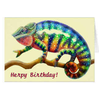 Herps Happy Birthday Chameleon Card