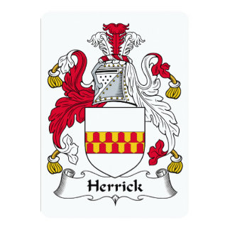 Herrick Family Crest 13 Cm X 18 Cm Invitation Card