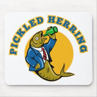 Herring fish suit drinking beer bottle mousepad