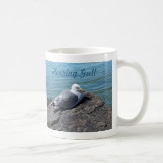 Herring Gull Resting on Rock Jetty: Basic White Mug