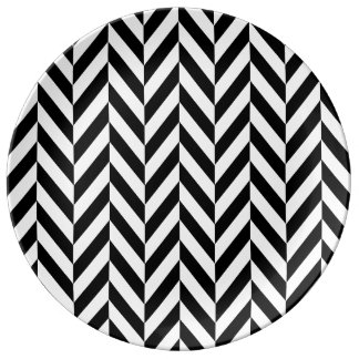 HERRINGBONE (a black & white design) ~ Porcelain Plate