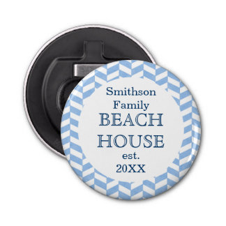 Herringbone Blue White Beach House Custom Bottle Opener