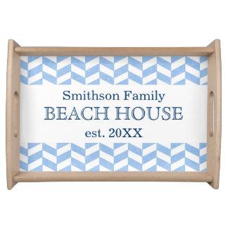 Herringbone Blue White Beach House Custom Serving Tray