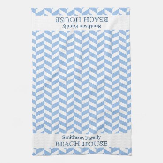 Herringbone Blue White Beach House Custom Tea Towel