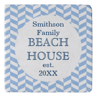 Herringbone Blue White Beach House Custom Trivet