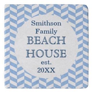 Herringbone Blue White Beach House Custom Trivets