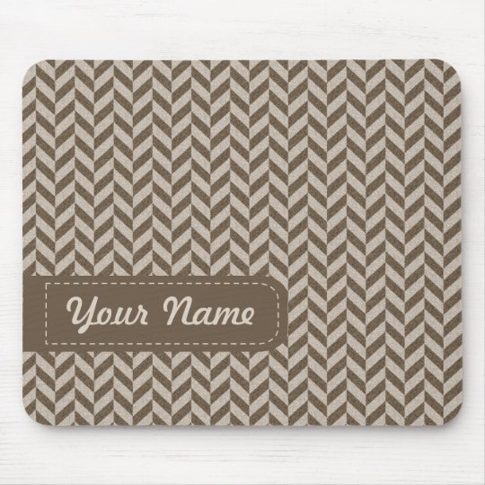 Herringbone Chevrons Pattern in Beige and Brown Mouse Mat
