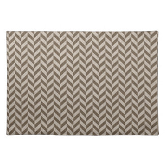 Herringbone Chevrons Pattern in Beige and Brown Placemat