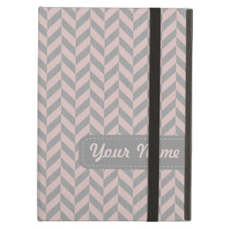 Herringbone Chevrons Pattern in Pink and Greys Cover For iPad Air
