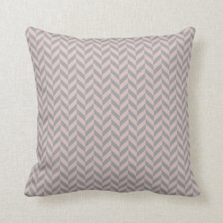 Herringbone Chevrons Pattern in Pink and Greys Cushion