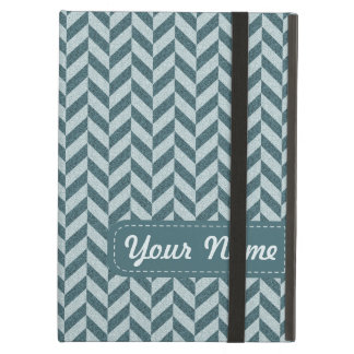 Herringbone Chevrons Pattern in Shades of Blue Cover For iPad Air