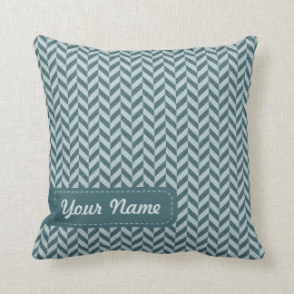 Herringbone Chevrons Pattern in Shades of Blue Cushion