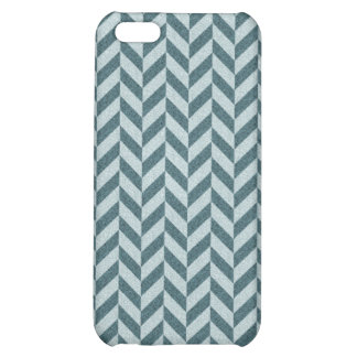 Herringbone Chevrons Pattern in Shades of Blue Cover For iPhone 5C