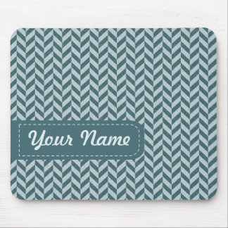 Herringbone Chevrons Pattern in Shades of Blue Mouse Pad