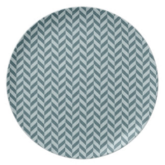 Herringbone Chevrons Pattern in Shades of Blue Plate
