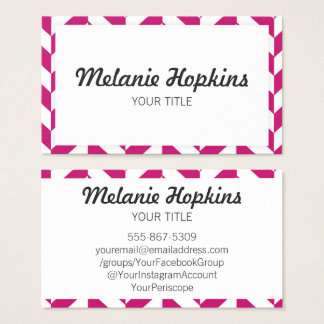 Herringbone Dark Pink Modern Retro Business Card