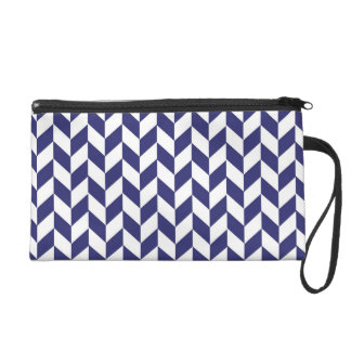 Herringbone - Navy and White Wristlet
