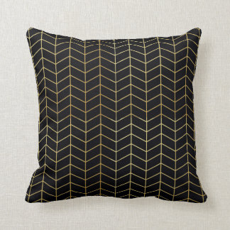 Herringbone Pattern Faux Gold Foil Black Geometric Cushion
