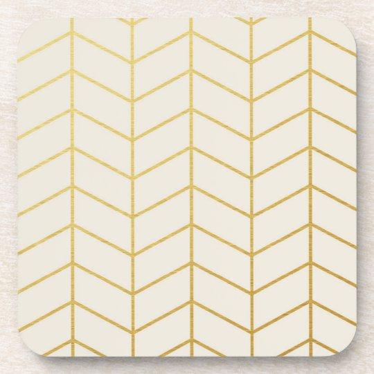 Herringbone Pattern Faux Gold Foil Ivory Geometric Coaster